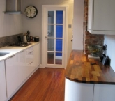 Fitted Kitchen Stockport Manchester White with wooden work top